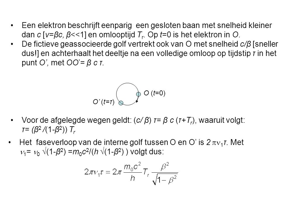 Een elektron beschrijft eenparig een gesloten baan met snelheid kleiner dan c [v=βc, β<<1] en omlooptijd Tr. Op t=0 is het elektron in O.